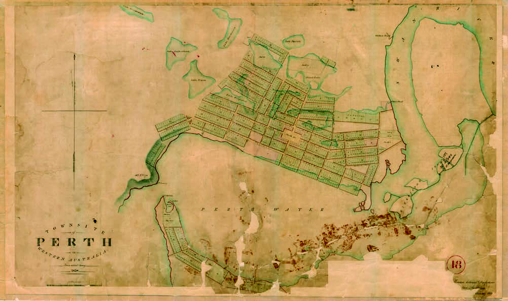 Historical map of Perth city