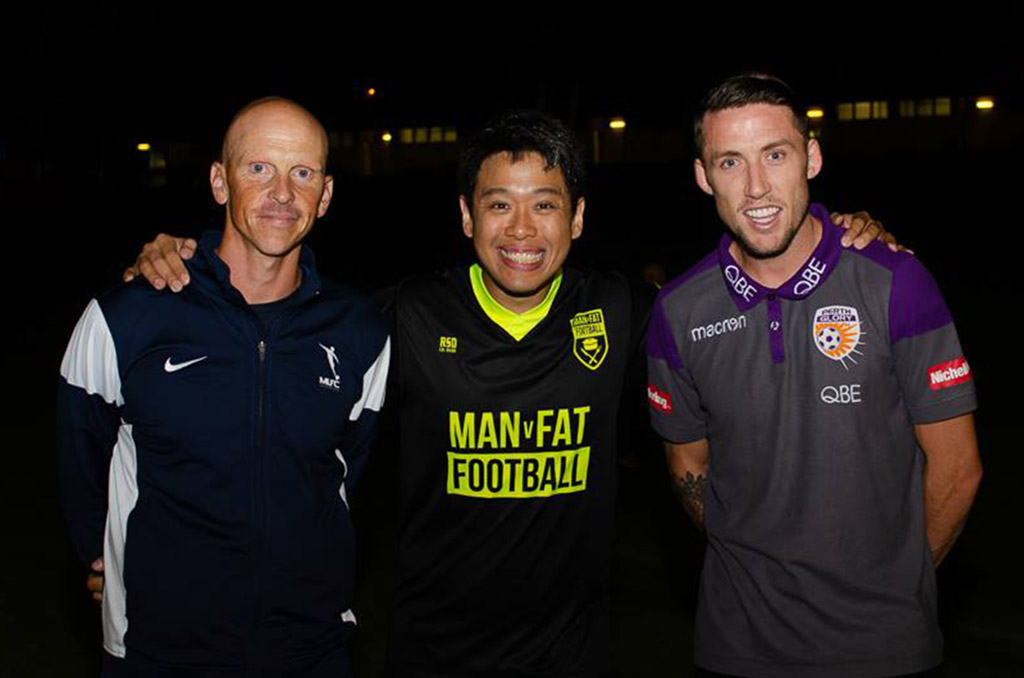 Scott Neville and Mark Lee with MAN v FAT players in Cockburn