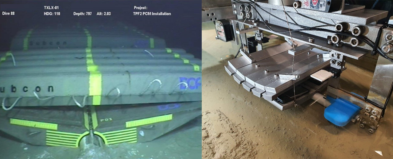 PCM with log mattress deployed on an offshore pipeline (left) (Frankenmolen et al 2017), and the equivalent reduced scale centrifuge model (right)